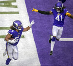 Minnesota Vikings middle linebacker Eric Kendricks intercepts the ball intended for Detroit Lions tight end T.J. Hockenson in the end zone during the second half of an NFL football game, Sunday, Nov. 8, 2020 in Minneapolis. (Elizabeth Flores/Star Tribune via AP)