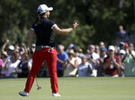 Sei Young Kim waves to fans after making par in the final round of the LPGA Marathon Classic at Highland Meadows Golf Club in Sylvania, Ohio on Sunday, July 14, 2019. (Lori King/The Blade via AP)