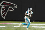 Carolina Panthers running back Mike Davis (28) heads to the end zone for a touchdown against the Atlanta Falcons during the first half of an NFL football game, Sunday, Oct. 11, 2020, in Atlanta. (AP Photo/Brynn Anderson)