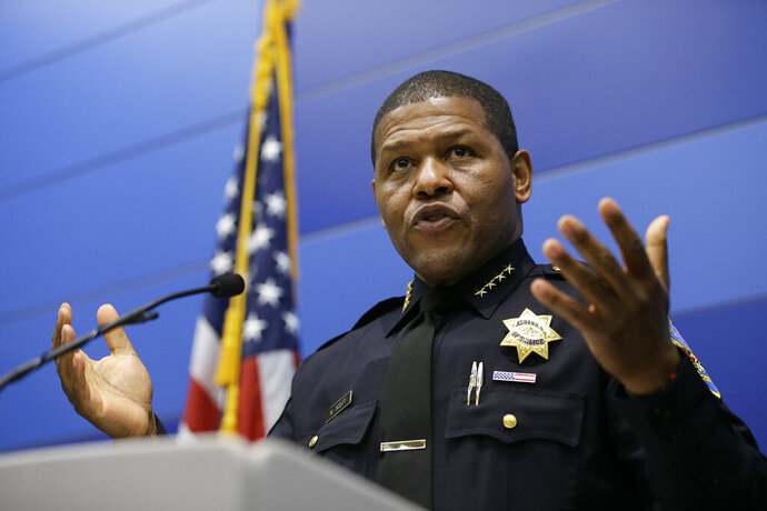 San Francisco Police Chief William Scott speaks during a news conference, Tuesday, May 21, 2019, in San Francisco. Police agreed Tuesday to return property seized from a San Francisco journalist in a raid, but the decision did little to ease tensions in the case, which has alarmed journalism advocates and put pressure on city leaders. Authorities have said the May 10 raids on freelancer Bryan Carmody's home and office were part of an investigation into what police called the illegal leak of a report on the death of former Public Defender Jeff Adachi, who died unexpectedly in February. (AP Photo/Eric Risberg)