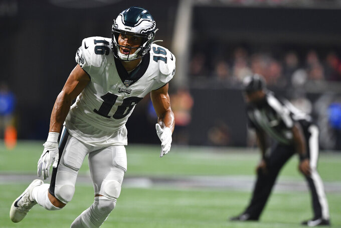 Philadelphia Eagles wide receiver Mack Hollins (16) runs a route against the Atlanta Falcons during the second half of an NFL football game, Sunday, Sept. 15, 2019, in Atlanta. (AP Photo/John Amis)