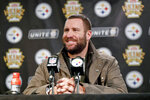 FILE - In this Dec. 16, 2018, file photo, Pittsburgh Steelers quarterback Ben Roethlisberger talks to reporters during a news conference after an NFL football game against the New England Patriots, in Pittsburgh. The Pittsburgh Steelers have reiterated repeatedly during an eventful offseason that quarterback Ben Roethlisberger remains the team's unquestioned leader. They've handed him a new deal to prove it. The Steelers and the two-time Super Bowl winner agreed to terms on a contract extension Wednesday, April 24, 2019,  that will keep Roethlisberger in Pittsburgh through the 2021 season. (AP Photo/Keith Srakocic, File)