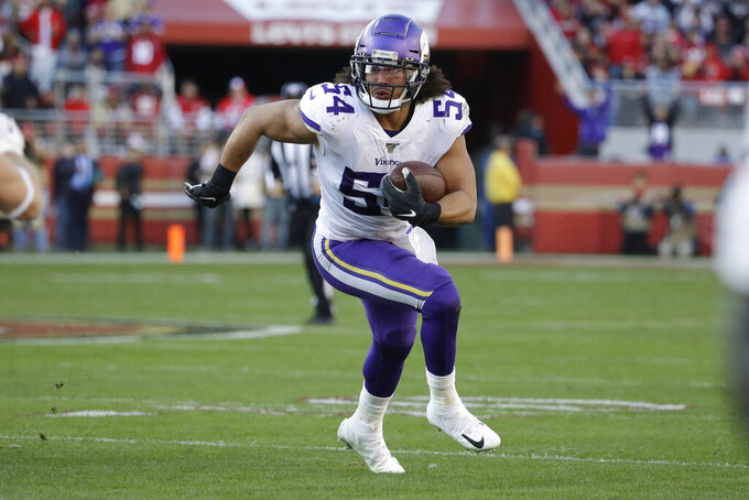 Minnesota Vikings middle linebacker Eric Kendricks (54) runs after intercepting a pass against the San Francisco 49ers during the first half of an NFL divisional playoff football game, Saturday, Jan. 11, 2020, in Santa Clara, Calif. (AP Photo/Marcio Jose Sanchez)