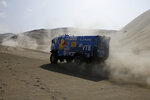 Truck driver Eduard Nikolaev, of Russia, and co-driver Evgeny Yakovlev, of Russia, race their Kamaz during the 5th of the 2018 Dakar Rally between San Juan de Marcona and Arequipa, Peru, Wednesday, Jan. 10, 2018. (AP Photo/Ricardo Mazalan)