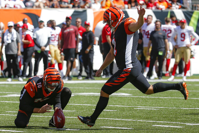 Cincinnati Bengals kicker Randy Bullock (4) kicks a field goal during the first half an NFL football game against the San Francisco 49ers, Sunday, Sept. 15, 2019, in Cincinnati. (AP Photo/Frank Victores)
