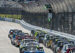 Stewart Friesen lead the field to the green flag during the NASCAR Gander Outdoors Truck Series race at Martinsville Speedway in Martinsville, Va. Saturday, March 23. (AP Photo/Matt Bell)