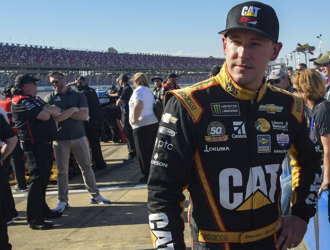 NASCAR Cup Series driver Daniel Hemric awaits the final round of qualifying for a NASCAR Cup Series auto race at Talladega Superspeedway, Saturday, April 27, 2019, in Talladega, Ala. (AP Photo/Julie Bennett)