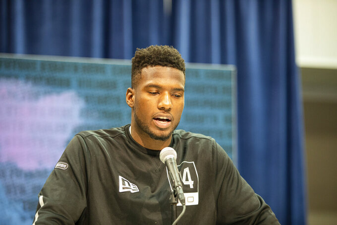Bryan Edwards talks to the media at the NFL Scouting Combine on Tuesday, Feb. 25, 2020 in Indianapolis. (Detroit Lions via AP)