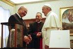 President of the Republic of Iraq Barham Salih is received by Pope Francis in a private audience at The Vatican, Saturday, Jan. 25, 2020. (AP Photo/Domenico Stinellis, Pool)