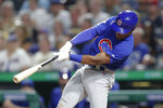 Chicago Cubs' Tony Kemp hits a triple to drive in two runs off Pittsburgh Pirates relief pitcher Felipe Vazquez in the eighth inning of a baseball game, Friday, Aug. 16, 2019, in Pittsburgh. (AP Photo/Keith Srakocic)