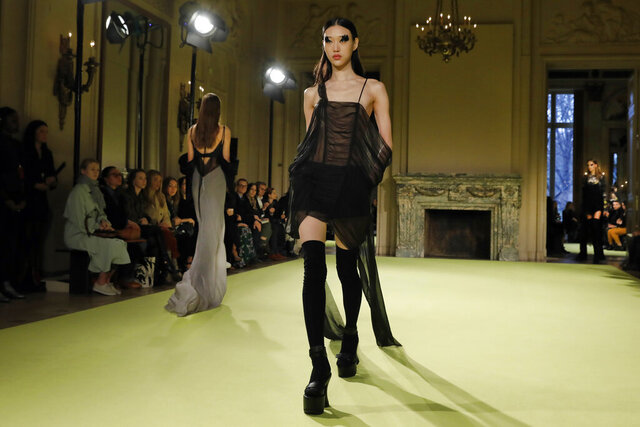 The Vera Wang collection is modeled during Fashion Week in New York, Tuesday, Feb. 11, 2020. (AP Photo/Richard Drew)