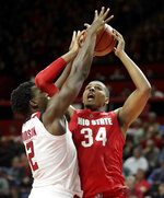 Ohio State forward Kaleb Wesson (34) goes up for a shot agains Rutgers center Shaquille Doorson during the second half of an NCAA college basketball game, Wednesday, Jan. 9, 2019, in Piscataway, N.J. Rutgers won 64-61. (AP Photo/Julio Cortez)