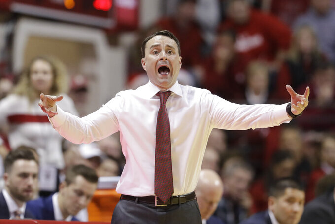 Indiana coach Archie Miller shouts during the second half of the team's NCAA college basketball game against Florida State, Tuesday, Dec. 3, 2019, in Bloomington, Ind. Indiana won 80-64. (AP Photo/Darron Cummings)