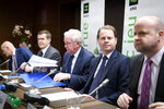 From left, World Anti-Doping Agency (WADA) Director, Intelligence and Investigations, Gunter Younger, President-Elect of World Anti-Doping Agency (WADA) Witold Banka, President of World Anti-Doping Agency (WADA) Craig Reedie, Director General of World Anti-Doping Agency (WADA) Olivier Niggli, Chair of the Compliance Review Committee (CRC) Jonathan Taylor speak during a press conference after the WADA's extraordinary Executive Committee (ExCo) on the Russian doping data manipulation, in Lausanne, Switzerland, Monday, December 9, 2019. WADA bans Russia from international sporting events for four years. (Laurent Gillieron/Keystone via AP)