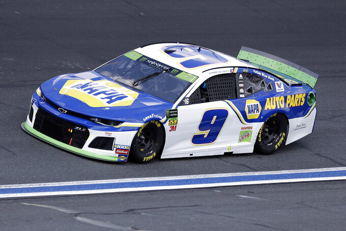 Chase Elliott drives through Turn 4 during the NASCAR Cup Series auto race at Charlotte Motor Speedway in Concord, N.C., Sunday, Sept. 29, 2019. (AP Photo/Gerry Broome)
