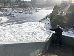 In this Jan. 11, 2020 photo residents watch as an extreme high tide rolls in and floods parts of the harbor in Depoe Bay, Ore. during an extreme high tide that coincided with a big winter storm. Amateur scientists are whipping out their smartphones to document the effects of extreme high tides on shore lines from the United States to New Zealand, and by doing so are helping better predict what rising sea levels due to climate change will mean for coastal communities around the world. (AP Photo/Gillian Flaccus)