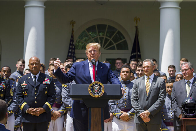 President Donald Trump speaks during the presentation of the Commander-in-Chief's Trophy to the U.S. Military Academy at West Point football team in the Rose Garden of the White House, Monday, May 6, 2019, in Washington. (AP Photo/Alex Brandon)