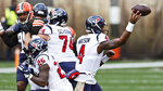 Houston Texans quarterback Deshaun Watson throws during the first half of an NFL football game against the Cleveland Browns, Sunday, Nov. 15, 2020, in Cleveland. (AP Photo/Ron Schwane)