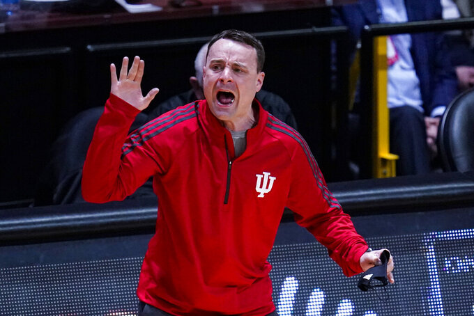 Indiana head coach Archie Miller gestures during the first half of an NCAA college basketball game against Purdue in West Lafayette, Ind., Saturday, March 6, 2021. (AP Photo/Michael Conroy)