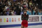Russia's Alina Zagitova reacts at the end of her performance in the ladies free skating during the ISU World Figure Skating Championships at Saitama Super Arena in Saitama, north of Tokyo, Friday, March 22, 2019. (AP Photo/Andy Wong)