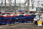 Trains park at the Hendaye train station, southwestern France, Sunday Dec. 8, 2019 on the fourth day of nationwide strikes that disrupted weekend travel around France. (AP Photo/Bob Edme)