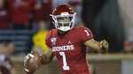 Oklahoma quarterback Jalen Hurts (1) during an NCAA college football game between Iowa State and Oklahoma in Norman, Okla., Saturday, Nov. 9, 2019. (AP Photo/Sue Ogrocki)