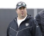 FILE - In this April 11, 2019, file photo, Oakland Raiders defensive coordinator Paul Guenther attends an NFL local Pro Day at the team's football facility in Alameda, Calif. The Las Vegas Raiders fired Guenther after he failed to make any significant improvement for the unit in nearly three full seasons on the job. (AP Photo/Jeff Chiu, File)