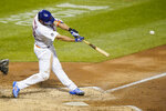 New York Mets' Pete Alonso hits a home run during the fourth inning of a baseball game against the Tampa Bay Rays Tuesday, Sept. 22, 2020, in New York. (AP Photo/Frank Franklin II)