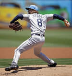 Seattle Mariners pitcher Mike Leake works against the Oakland Athletics in the first inning of a baseball game Sunday, June 16, 2019, in Oakland, Calif. (AP Photo/Ben Margot)