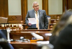 Illinois State Sen. Darren Bailey, R-Xenia, gives his remarks on the omnibus energy bill on the floor of the Illinois Senate at the Illinois state Capitol in Springfield, Ill., Wednesday, Sept. 1, 2021. (Justin L. Fowler/The State Journal-Register via AP)