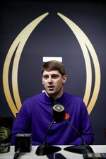 Clemson coordinator Jeff Scott answers a question during media day for the NCAA college football playoff championship game Saturday, Jan. 5, 2019, in Santa Clara, Calif. (AP Photo/Chris Carlson)