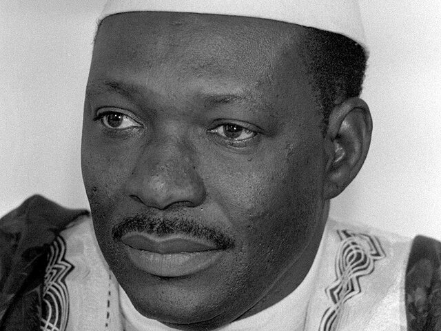 FILE - In this Feb. 1984 file photo, Mali's President Moussa Traore is photographed during a visit to Bonn, Germany. Mali's former president Moussa Traore, who ruled the West Africa nation for more than 22 years, has died at age 83, according to his son Idrissa Traore on Tuesday, Sept. 15, 2020. (AP Photo/Herman J. Knippertz, File)