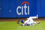 New York Mets right fielder Michael Conforto (30) cannot make a catch on a hit by Pittsburgh Pirates Josh Bell during the second inning of a baseball game, Friday, July 26, 2019, in New York. (AP Photo/Corey Sipkin)