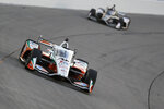 Graham Rahal drives his car during an IndyCar Series auto race Saturday, July 18, 2020, at Iowa Speedway in Newton, Iowa. (AP Photo/Charlie Neibergall)