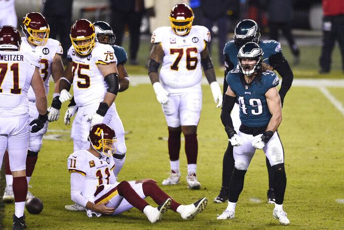 Philadelphia Eagles' Alex Singleton (49) reacts after tackling Washington Football Team's Alex Smith (11) during the first half of an NFL football game, Sunday, Jan. 3, 2021, in Philadelphia. (AP Photo/Derik Hamilton)