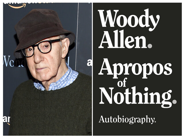 This combination photo shows director Woody Allen at a special screening of