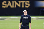 New Orleans Saints quarterback Drew Brees makes a face while warming up before an NFL wild-card playoff football game against the Chicago Bears in New Orleans, Sunday, Jan. 10, 2021. (AP Photo/Brett Duke)