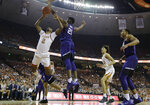 Texas guard Matt Coleman III (2) is blocked by TCU center Kevin Samuel (21) during the second half of an NCAA college basketball game, Saturday, March 9, 2019, in Austin, Texas. (AP Photo/Eric Gay)