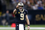 New Orleans Saints quarterback Drew Brees (9) reacts between plays in the first half of an NFL football game against the Indianapolis Colts in New Orleans, Monday, Dec. 16, 2019. (AP Photo/Butch Dill)