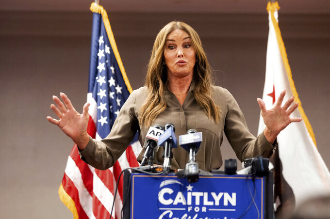 FILE — In this July 9, 2021, file photo Caitlyn Jenner, a Republican candidate for California governor, speaks during a news conference in Sacramento, Calif. Jenner made about $550,000 in income in 2018 and 2019, down from several million in the two years before. Jenner is among the more than 3 dozen candidates running for governor in California's upcoming recall election, which requires hopefuls to release five years of returns. (AP Photo/Noah Berger, File)