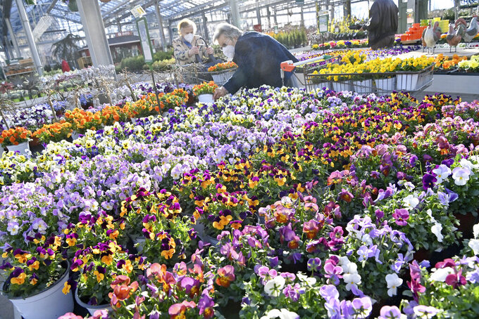 Customers buy flowers at a garden center in Munich, Germany, Monday, March 1, 2021. Some German federal states are allowing businesses such as flower shops and hardware stores another cautious step as the country balances a desire to loosen restrictions with concern about the impact of more contagious coronavirus variants. (Peter Kneffel/dpa via AP)