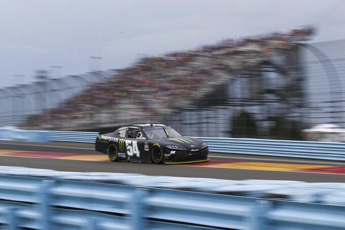 Ty Gibbs drives between Turn 1 and the Esses during the NASCAR Xfinity Series auto race at Watkins Glen International in Watkins Glen, N.Y., Saturday, Aug. 7, 2021. (AP Photo/Joshua Bessex)
