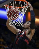 Stanford's Bryce Wills scores against California in the first half of an NCAA college basketball game Sunday, Feb. 3, 2019, in Berkeley, Calif. (AP Photo/Ben Margot)
