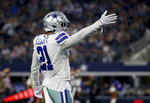 Dallas Cowboys' Ezekiel Elliott (21) celebrates running the ball for a first down against the Philadelphia Eagles in the first half of an NFL football game in Arlington, Texas, Sunday, Oct. 20, 2019. (AP Photo/Ron Jenkins)