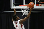Washington State center Efe Abogidi shoots during the second of the team's NCAA college basketball game against Utah in Pullman, Wash., Thursday, Jan. 21, 2021. (AP Photo/Young Kwak)