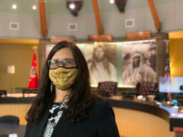 "Shelly R. Fyant, chairwoman of the Confederated Salish and Kootenai Tribes of Montana, poses for a photo on Nov. 30, 2020 in Pablo, Mont. Fyant said she was blindsided by a request to use a tribal seal on the ABC series ""Big Sky"" when she was unaware the Flathead Nation tribe might be written into a scene. (Amy Schlatter via AP)"