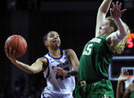 Kansas State guard Christianna Carr (43) drives on Baylor forward Lauren Cox (15) during the second half of an NCAA college basketball game in Manhattan, Kan., Wednesday, Feb. 13, 2019. (AP Photo/Orlin Wagner)