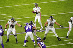 Atlanta Falcons quarterback Matt Ryan (2) throws a pass during the first half of an NFL football game against the Minnesota Vikings, Sunday, Oct. 18, 2020, in Minneapolis. (AP Photo/Charlie Neibergall)