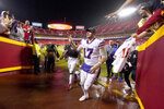 Buffalo Bills quarterback Josh Allen (17) runs to the locker room after an NFL football game against the Kansas City Chiefs Sunday, Oct. 10, 2021, in Kansas City, Mo. The Bills won 38-20. (AP Photo/Charlie Riedel)