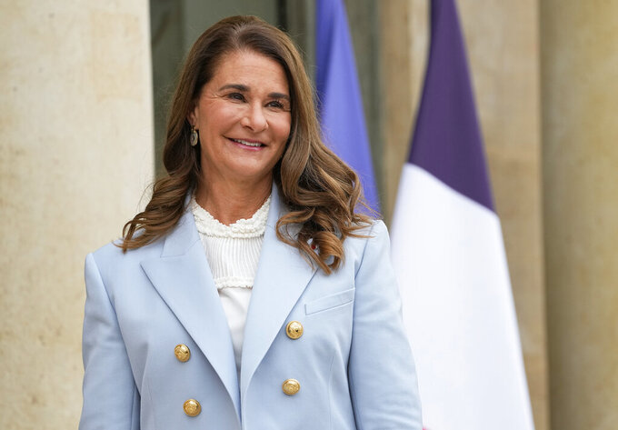 FILE - In this July 1, 2021 file photo, Melinda Gates, Co-Chair of the Bill and Melinda Gates Foundation poses for photographers as she arrives for a meeting after a meeting on the sideline of the gender equality conference at the Elysee Palace in Paris. Bill and Melinda Gates' private foundation announced Thursday, Sept, 23, 2021 it will spend more than $900 million over the next five years to curb global malnutrition (AP Photo/Michel Euler, File)